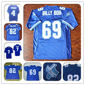 Barato Caean Cayotes Varsity 69 Billy Bob 82 Charlie Tweeder 4 Jonathan Moxon 7 Lance Harbor Blue Movie Football Jerseys cosido