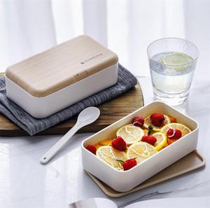 New Housekeeping Microwave Double Layer Lunch Box 1200ml sentimento de salada de madeira Bento Box BPA Free Portable Container Food Box trabalhadores estudantes