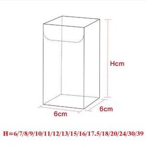 6 * 6 * H cm Transparente À Prova D 'Água Transparente PVC Caixas de Exibição Presentes Artesanato Embalagem Caixa De Plástico Para Flor / Alimentos / Brinquedos / Lanche / Vinho / Fruta