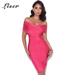 Liser 2020 New Summer Women Dress Slash Neck Fuchsia Bandage Dress Sexy Bodycon Elegant Club Celebrity Party Dresses Vestidos