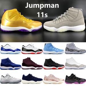 Yeni 11 düşük beyaz yetiştirilmiş 11s yüksek SE metalik altın Jmpman basketbol ayakkabıları Kadife Heiress Mavi doruk gri erkek kadın eğitmenler spor ayakkabı yetiştirildi