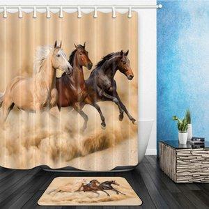 Хаки Черный Коричневый конь Душ Шторы Набор Strong животных Running ванной Декор Главная Ванна занавес и фланель Мат Ковер