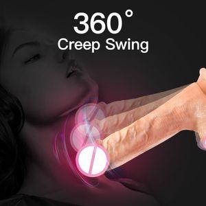 Sexdraht Dildo Automatische Big Teleskop-Dildos Realistische Riesige Erwachsene Vibrator Dick Remove Heating Toys Swing für Penis Frauen T200706 MLHNC