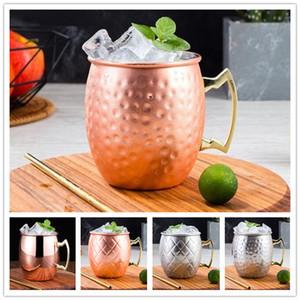 Hammered Verkupfertes Edelstahl Moscow Mule Tasse Trommel-Beer Cup Coffe Cup Wasserglas Trinkgefäße