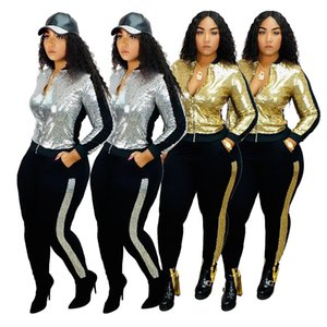 Gold Sliver Sequins Panelled Women Tracksuits Fashion Jacket Zipper Long Sleeves Long Pants Two Pieces Casual Sets Autumn Newest