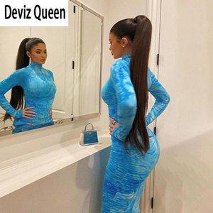 Renkli Tie-boya Tam Kol BODYCON Midi Modelleri Kadın Moda Mavi Yüksek Kalite Elbise Bayanlar Temel Sokak Stretch Elbise