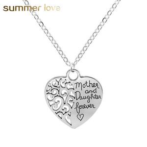 Collana a forma di cuore vendita calda mamma e ciondoli figlia per le donne placcatura in argento regolabile gioielli collana a catena vuota regalo