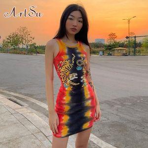 Punk Tie Dye Graphic maniche Mini abiti costine O-collo della tigre Stampa Bodycon del partito sexy Summer Dress Sundress ASDR23227