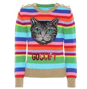 2018 del arco iris de rayas de otoño de manga larga de las mujeres suéteres del diseñador del bordado Perlas de lentejuelas de impresión de letras Jerseys Mujeres 91808