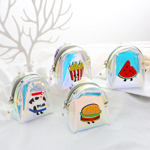French Holographic Women Purses Girls Small Kids Hamburger Fries PVC For Print Fashion Handbags Laser Card Coin Purse Bag Ojhoh