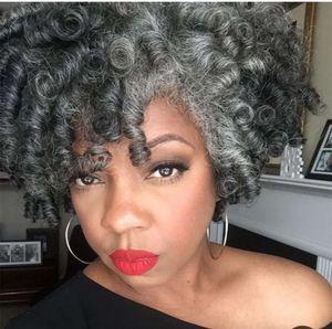 Salt & Pepper grey ponytail hair extension Real hair shake and go kinky curly puff bun updo human hair ponytail 120g 140g 100g DHL