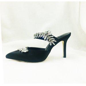 Satin tissu décoration de bande de cristal femmes hauts talons glisse à l'extérieur utilisé habillé chaussures de luxe de Bling Bling