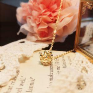 Anhänger Halsketten Korea Zirkon Krone Halskette Frau Luxus Mode Gold Kette Schlüsselbein Jubiläumsgeschenk für Mädchen 2021 Schmuck