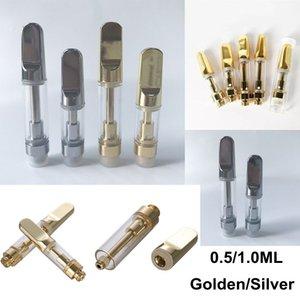 Goldenes Silber TH205 Leere Vape Pen-Patronen 0,5 ml 1 ml Thick-Öl-Wachs Vaporizer Carts Atomizer E Zigaretten 510 Gewinde Cartridge
