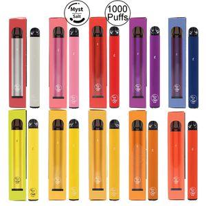Original Myst Salz Plus 1000 + Puffs Einweg-Gerät Vape Pen 650mAh Akku 3,2 ml Vorgefüllte Starter Kits tragbares System Vaporizer Vapors