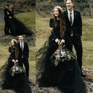 African Black Gothic Country Wedding Dresses 2020 Mulsim Free People Long Sleeve High Neck Country Bohemian Bride Reception Gown B65
