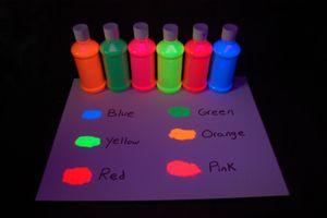 6 Pack 8oz Assorted Blacklight Reactive Fluorescent Tempera Paint