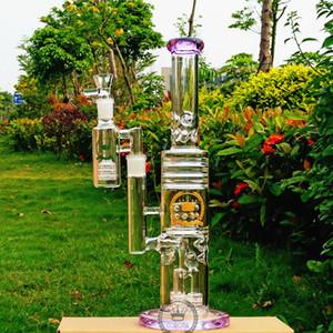 el color vaso de precipitados de 15 pulgadas Bong Bong Recycler Rosa matriz fab plataforma petrolera jaula de huevo de cristal azul púrpura negro tuberías de agua verdes hitman bongs