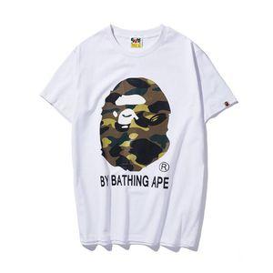 Camisa de diseñador para hombre, camuflaje, monos, cabeza de mono, camiseta de baño, mono, hip hop, jersey, pantalones cortos de algodón 19BAPE, vetements