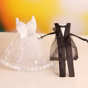 Organze İpli Şeker Çantası Gelin Elbise Damat Smokin Şeklinde Hediye Torbalar Düğün Parti Favor Paketi Çanta