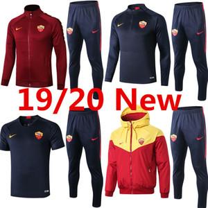 2019-20 veste à capuche Roma Tshirt kits de manches longues Strootman survêtements maillot de football maillot d'entraînement de football Dzeko coupe-vent N'Zonzi