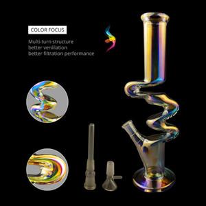 W style 12,5 pouces arc-en-verre Bongs Pipes eau Tuyaux en verre Dab Rigs Livraison gratuite cool