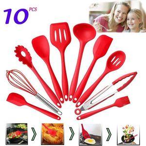 10pcs / set Red Silicone resistente ao calor Cozinha Utensílios de cozinha Set com higiene sólidos Sets Coating Panelas