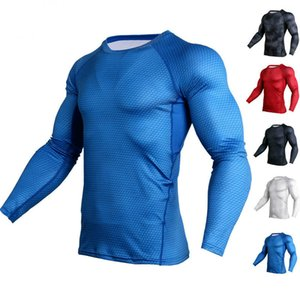 T Shirts Men Sports Running Exercise Long Sleeve Round Collar Shirt Quick Dry Breathable Snake Skin Pattern Sportswear