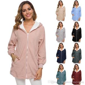 Coats cor sólida manga comprida com capuz Cardigan Ladies outerwear casual Lã Mulheres Womens solto roupas de inverno