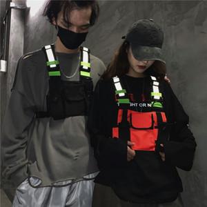 Erkekler Kadınlar Göğüs Rig Çanta Reflektif Yelek Hip Hop Streetwear Fonksiyonel Harness Göğüs Çanta Paketi Ön Bel Kılıfı Sırt Çantası hs