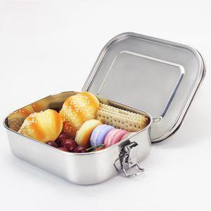 AsyPets Square 실리콘 밀봉 링이있는 스테인레스 스틸 보충 도시락 상자 누출 방지 식품 용기 Bento Box-25 C18112301