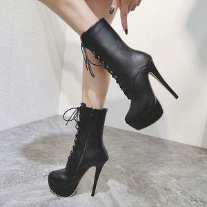 Hot Sale-inicialização mulheres saltos bottes femme bombas hiver botas Outono Inverno Mulher Shoes bombas de botas do estilete plataforma sensuais cair botas