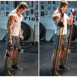 11 adet / takım açık spor lateks direnç bantları egzersiz egzersiz Pilates Yoga Crossfit spor tüpler çekin Halat 11 adet / takım