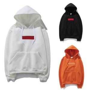 Hoodies clássicos para pulôver Hoodies Box logotipo dos homens bordado da marca vermelha com capuz de mangas compridas Homens