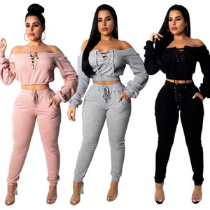 Womens Tracksuit Neck Lace up Top + Skinny Pants Sport Wear 2 PCS Set Fitness Outfit Wear 2019 Spring Big Girls Sexy Two Piece Sets Suit