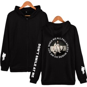2020 Billie Eilish Kapüşonlular Mens Harajuku Streetwear Fermuar Kazak Billie Eilish Eşofman Gevşek Fermuar Hoodie Tişörtü