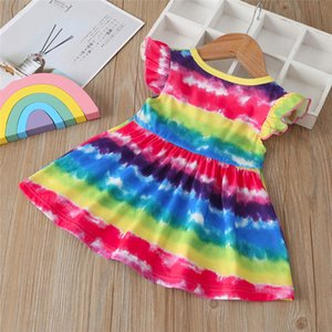 2020 Fashion Girls Rainbow Dress Summer Infant Baby Girls Dress Sleeveless Knee Length Casual Top Quality Colorful Princess Dresses Gift INS