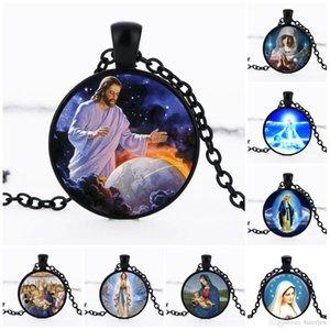 colares Declaração Virgin Mary Pingente puro colar Christian aço inoxidável Jóias preto Jesus religioso do vintage Correntes Colares