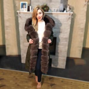 OFTBUY 2020 Nouveau manteau imperméable Parka Fourrure véritable veste d'hiver X long femmes col en fourrure naturelle chaud épais vêtement amovible