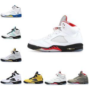 2020 Nike Air Jordan 5 retro jordans de vuelo Roja Internacional ante azul de Oregon Ducks fluorescente verde Aire Hombres Retroes Deportes zapatilla de deporte