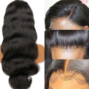 Frente de encaje pelucas de pelo humano Transparente HD frontal de encaje peluca 180 200 Densidad del frente del cordón de Remy 13x4 brasileña onda del cuerpo de la peluca. # CULO