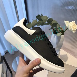 Top Quality Preto Branco Couro Casual Shoes Womens Chaussures Mens sapatos bonito Platform Casual Leather Sneakers Cores sólidas Sapato
