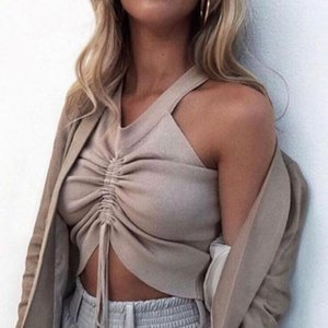 Hot V Neck Ruched Sexy Crop Top Women High Stretch Sleeveless Camisole Tops Shirts Summer Lace Up Drawstring Fitness Tank Top