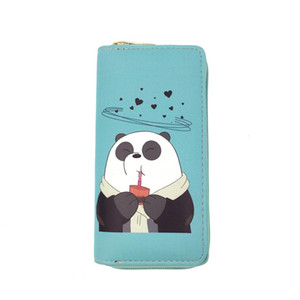 Cartoon Long Women Purses Student Cute Bear Print Zipper Wallets Coin Purse Clutch PU Wallet Credit Card Holder Money Clip Bag VT1629
