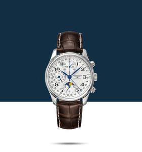 neue Marke Longine Uhr Marken-Designer-Herren-Uhr mk Luxus Mensuhr Ledergürtel Mode retro goldene Uhren Philip man6630 # geschnitzt
