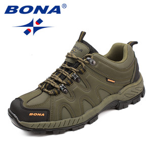 BONA New Arrival Classics Style Men Hiking Shoes Lace Up Men Sport Shoes Outdoor Jogging Trekking Sneakers Fast Free Shipping T190920