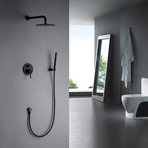 Latón mate negro redondo conjunto de ducha 8/10/12 pulgadas cabeza brazo de pared recto conjunto con grifos mezcladores baño negro grifo de baño