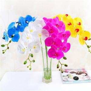Sudan korkmuyor 4 renk Yapay Güve Kelebek Orkide Çiçek Phalaenopsis Rafine Ekran Sahte Çiçekler Düğün Odası Ev dekor