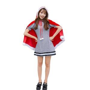 Vestido rojo de Navidad Japonés Servicio Conjunto de Navidad linda del invierno del sombrero de Cosplay del vestido de la princesa del mantón