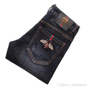 Jeans maschile autunno dimagrimento primaverili e autunnali animali ricamati pantaloni gamba uomini moda versatile pantaloni casual